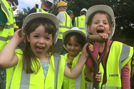 Children from the K1 cohousing group enjoy their visit to the Marmalade Lane site